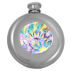 Floral Pattern Tropical Hawaiian Retro  Round Hip Flask (5 Oz) by CrypticFragmentsColors