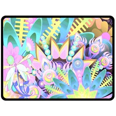 Floral Pattern Tropical Hawaiian Retro  Double Sided Fleece Blanket (large)  by CrypticFragmentsColors
