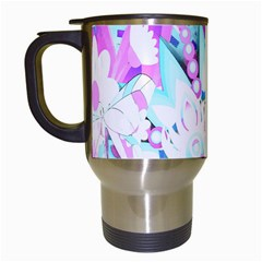 Hawaiian Retro Tropical Floral Print Pink Blue Travel Mugs (white) by CrypticFragmentsColors