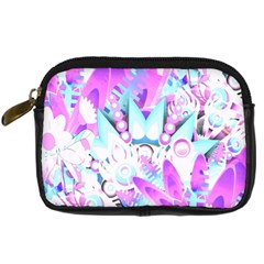 Hawaiian Retro Tropical Floral Print Pink Blue Digital Camera Cases by CrypticFragmentsColors