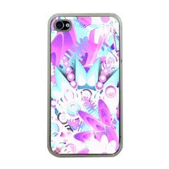Hawaiian Retro Tropical Floral Print Pink Blue Apple Iphone 4 Case (clear) by CrypticFragmentsColors