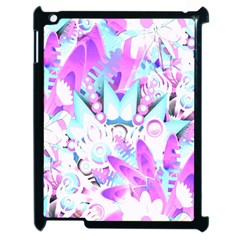 Hawaiian Retro Tropical Floral Print Pink Blue Apple Ipad 2 Case (black)