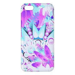 Hawaiian Retro Tropical Floral Print Pink Blue Iphone 5s/ Se Premium Hardshell Case by CrypticFragmentsColors
