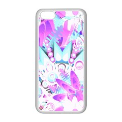 Hawaiian Retro Tropical Floral Print Pink Blue Apple Iphone 5c Seamless Case (white) by CrypticFragmentsColors