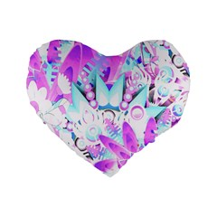 Hawaiian Retro Tropical Floral Print Pink Blue Standard 16  Premium Flano Heart Shape Cushions by CrypticFragmentsColors