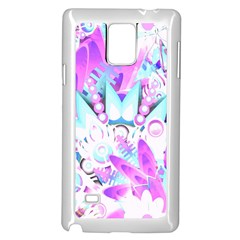 Hawaiian Retro Tropical Floral Print Pink Blue Samsung Galaxy Note 4 Case (white) by CrypticFragmentsColors