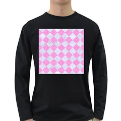 Square2 White Marble & Pink Colored Pencil Long Sleeve Dark T Shirts