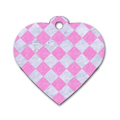 Square2 White Marble & Pink Colored Pencil Dog Tag Heart (one Side) by trendistuff