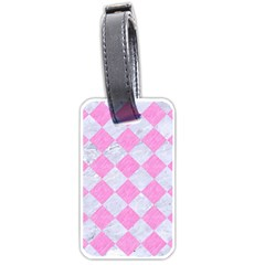 Square2 White Marble & Pink Colored Pencil Luggage Tags (one Side)  by trendistuff