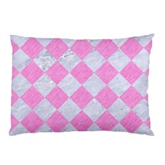 Square2 White Marble & Pink Colored Pencil Pillow Case (two Sides) by trendistuff