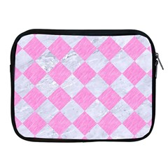 Square2 White Marble & Pink Colored Pencil Apple Ipad 2/3/4 Zipper Cases by trendistuff