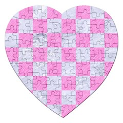 Square1 White Marble & Pink Colored Pencil Jigsaw Puzzle (heart) by trendistuff