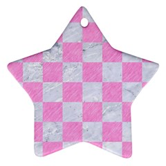 Square1 White Marble & Pink Colored Pencil Star Ornament (two Sides) by trendistuff