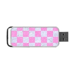 Square1 White Marble & Pink Colored Pencil Portable Usb Flash (two Sides) by trendistuff