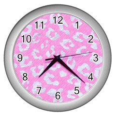 Skin5 White Marble & Pink Colored Pencil (r) Wall Clocks (silver)  by trendistuff