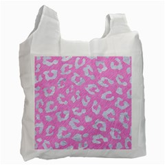 Skin5 White Marble & Pink Colored Pencil (r) Recycle Bag (one Side) by trendistuff