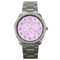 Skin5 White Marble & Pink Colored Pencil Sport Metal Watch by trendistuff
