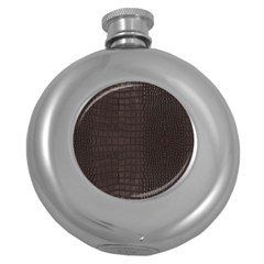 Gator Brown Leather Print Round Hip Flask (5 Oz)