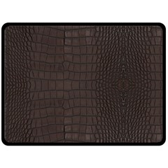 Gator Brown Leather Print Fleece Blanket (large)  by LoolyElzayat