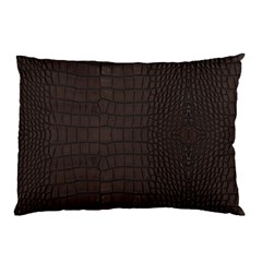 Gator Brown Leather Print Pillow Case (two Sides) by LoolyElzayat