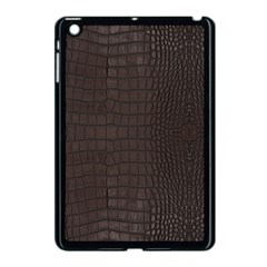 Gator Brown Leather Print Apple Ipad Mini Case (black) by LoolyElzayat