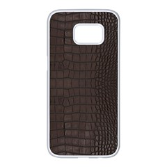 Gator Brown Leather Print Samsung Galaxy S7 Edge White Seamless Case