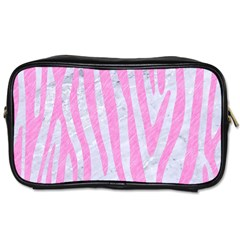 Skin4 White Marble & Pink Colored Pencil Toiletries Bags 2 Side by trendistuff