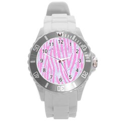 Skin4 White Marble & Pink Colored Pencil Round Plastic Sport Watch (l) by trendistuff