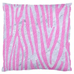 Skin4 White Marble & Pink Colored Pencil Large Flano Cushion Case (one Side) by trendistuff
