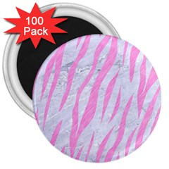 Skin3 White Marble & Pink Colored Pencil (r) 3  Magnets (100 Pack) by trendistuff