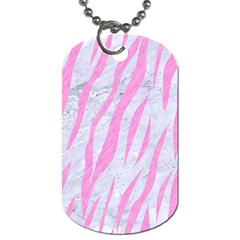 Skin3 White Marble & Pink Colored Pencil (r) Dog Tag (one Side) by trendistuff