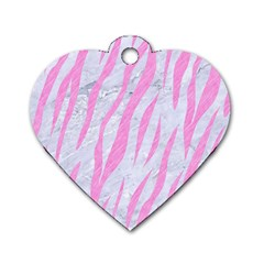 Skin3 White Marble & Pink Colored Pencil (r) Dog Tag Heart (one Side) by trendistuff