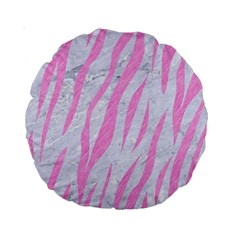 Skin3 White Marble & Pink Colored Pencil (r) Standard 15  Premium Round Cushions by trendistuff
