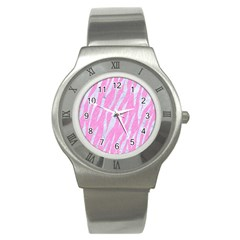 Skin3 White Marble & Pink Colored Pencil Stainless Steel Watch