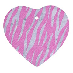 Skin3 White Marble & Pink Colored Pencil Heart Ornament (two Sides) by trendistuff