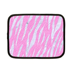 Skin3 White Marble & Pink Colored Pencil Netbook Case (small)