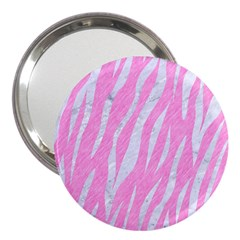 Skin3 White Marble & Pink Colored Pencil 3  Handbag Mirrors