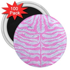 Skin2 White Marble & Pink Colored Pencil (r) 3  Magnets (100 Pack) by trendistuff