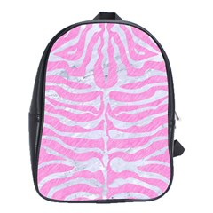 Skin2 White Marble & Pink Colored Pencil School Bag (xl) by trendistuff