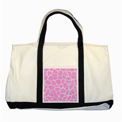 Skin1 White Marble & Pink Colored Pencil (r) Two Tone Tote Bag by trendistuff