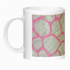 Skin1 White Marble & Pink Colored Pencil Night Luminous Mugs by trendistuff