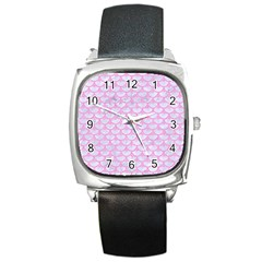 Scales3 White Marble & Pink Colored Pencil (r) Square Metal Watch by trendistuff