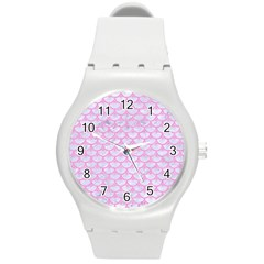 Scales3 White Marble & Pink Colored Pencil (r) Round Plastic Sport Watch (m) by trendistuff