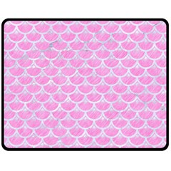 Scales3 White Marble & Pink Colored Pencil Fleece Blanket (medium)  by trendistuff