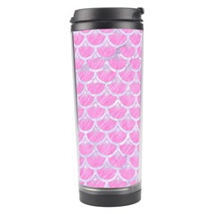 Scales3 White Marble & Pink Colored Pencil Travel Tumbler by trendistuff