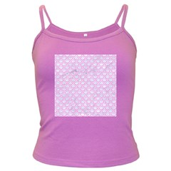 Scales2 White Marble & Pink Colored Pencil (r) Dark Spaghetti Tank