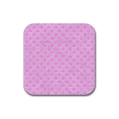 Scales2 White Marble & Pink Colored Pencil Rubber Square Coaster (4 Pack)  by trendistuff
