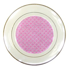 Scales2 White Marble & Pink Colored Pencil Porcelain Plates by trendistuff