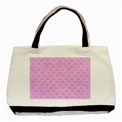 Scales2 White Marble & Pink Colored Pencil Basic Tote Bag by trendistuff