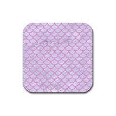 Scales1 White Marble & Pink Colored Pencil (r) Rubber Square Coaster (4 Pack)  by trendistuff